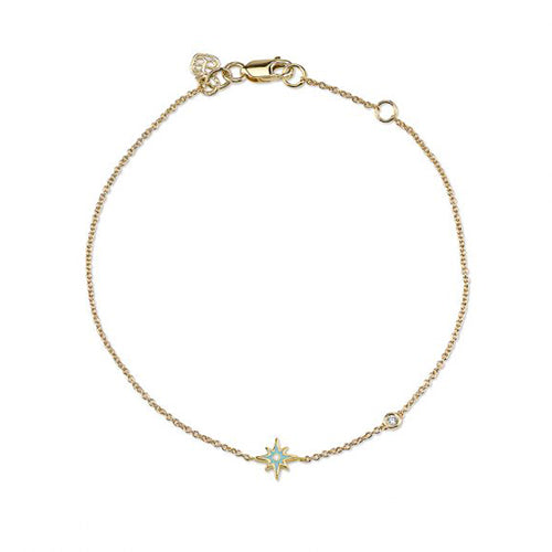 Gold & Enamel Mini Starburst Bracelet with Bezel Set Diamond