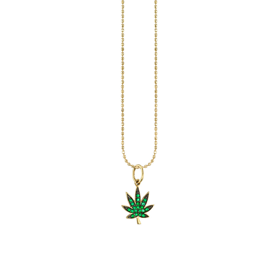 Small Yellow-Gold Pavé Emerald Pot Leaf Necklace