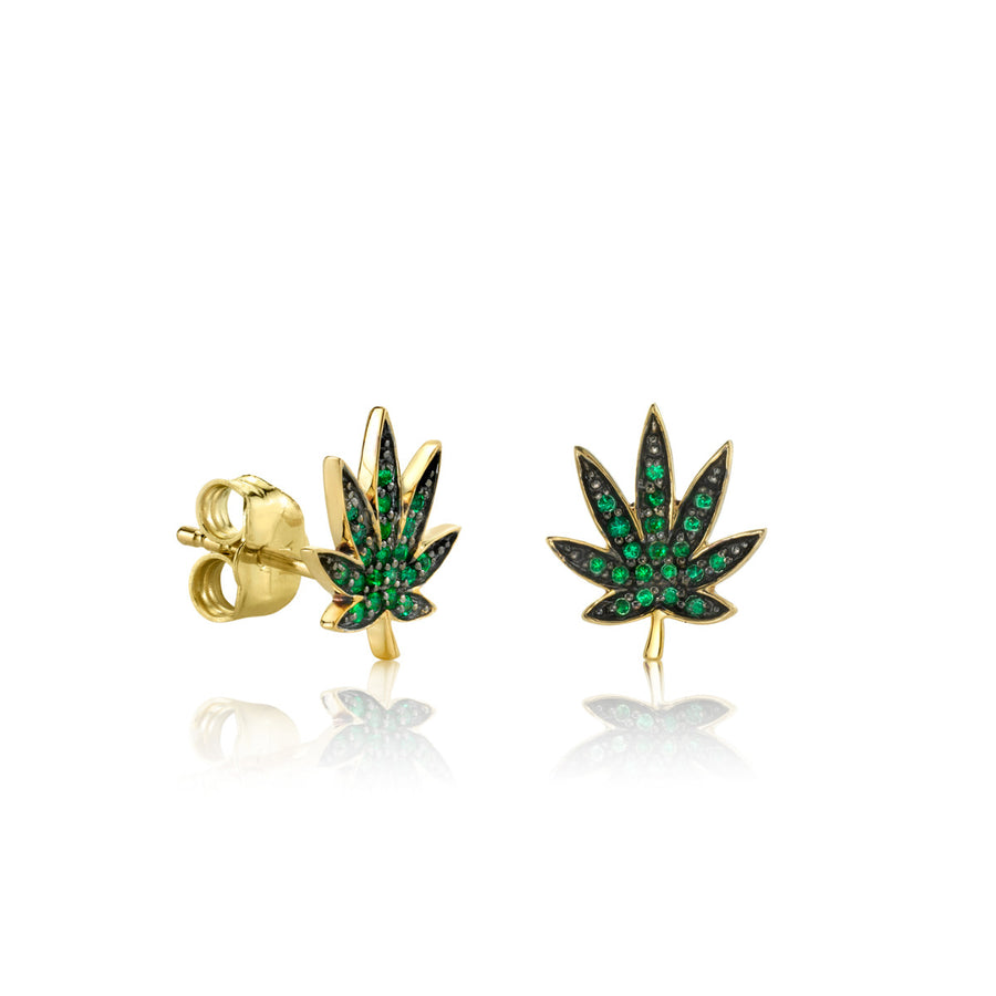 Small Yellow Gold Pavé Emerald Pot Leaf Stud Earrings
