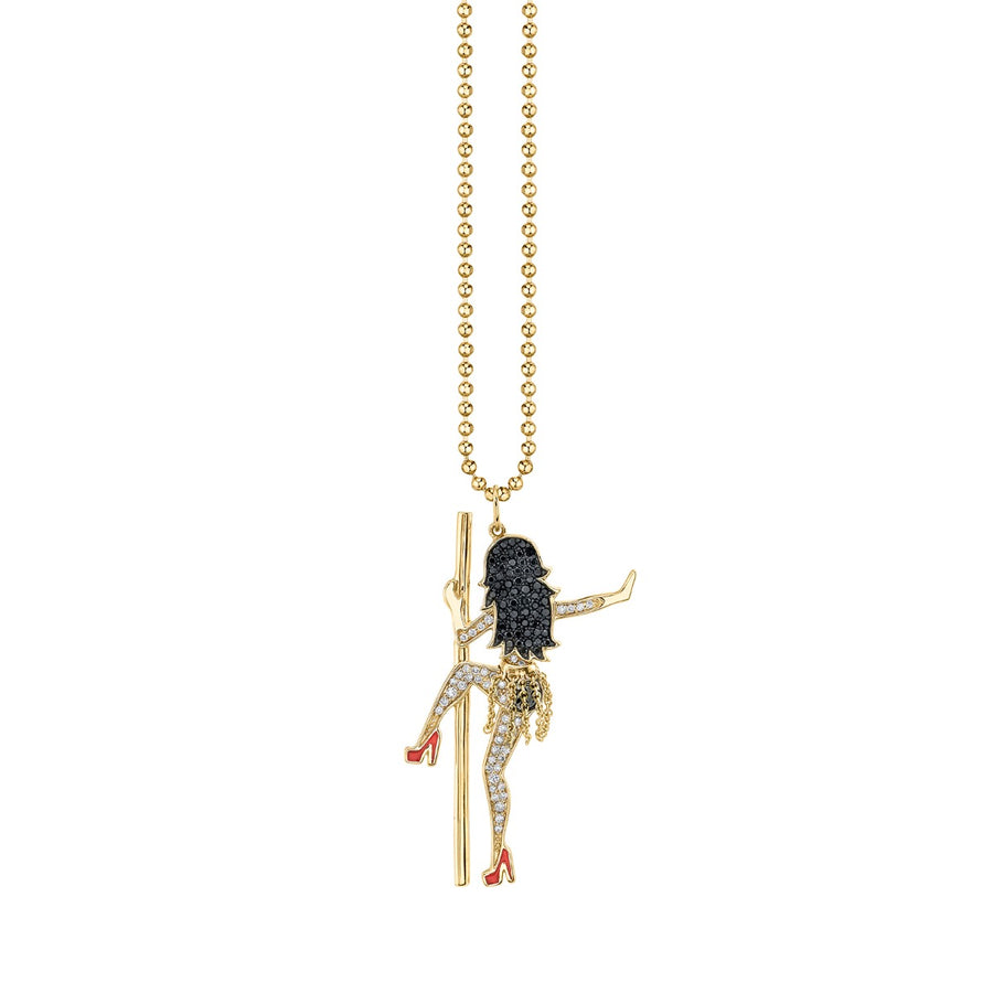 Yellow Gold & Diamond Pole Dancer Necklace