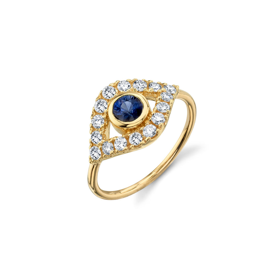 Yellow-Gold & Pave Diamond Extra-Large Sapphire Evil Eye Ring