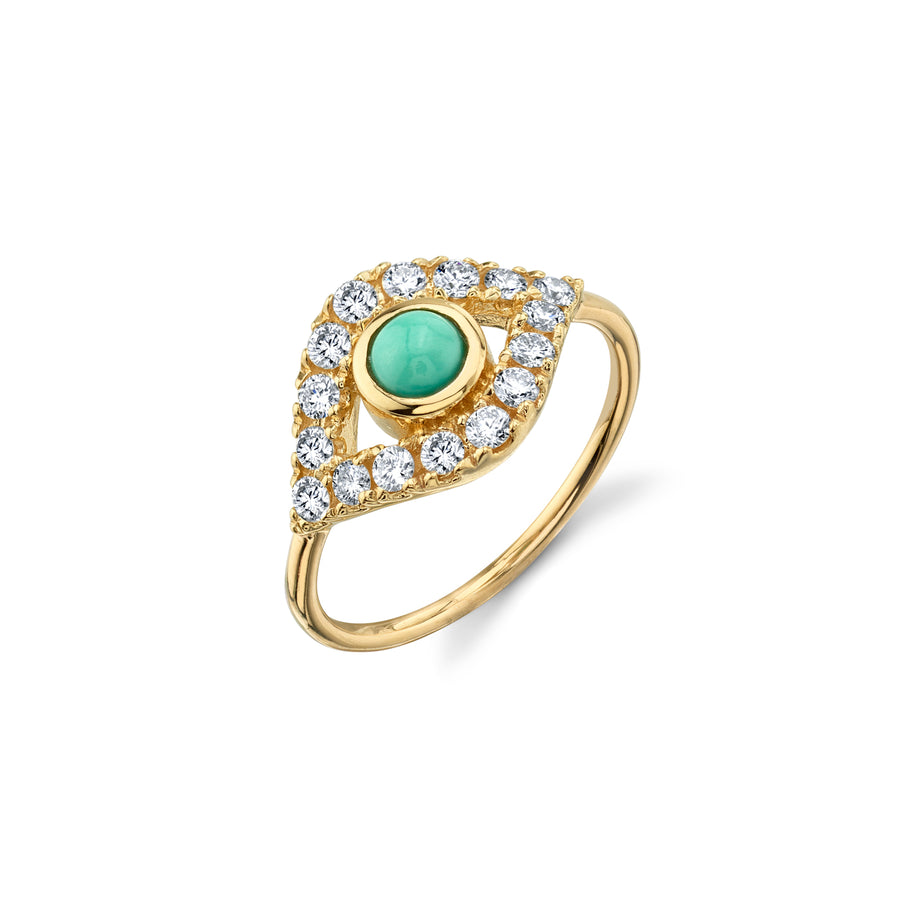 Gold & Pave Diamond Extra-Large Evil Eye Ring