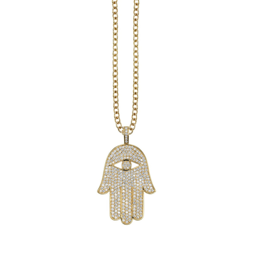 Extra Large Gold & Pavé Diamond Hamsa Charm Necklace