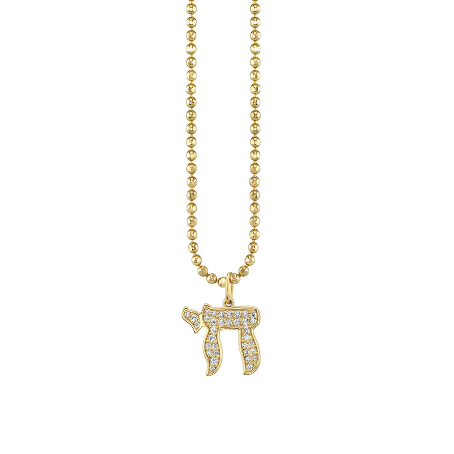 Large Yellow-Gold & Diamond Chai Charm Necklace