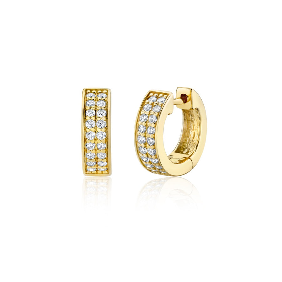 Two Row Gold & Pavé Diamond Huggie Hoops