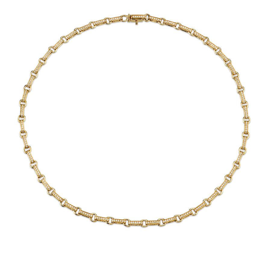Yellow Gold & Diamond Round Rectangle Link Necklace
