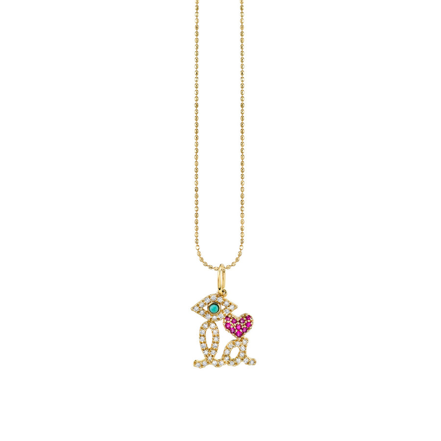 Gold & Diamond Eye Heart LA Necklace