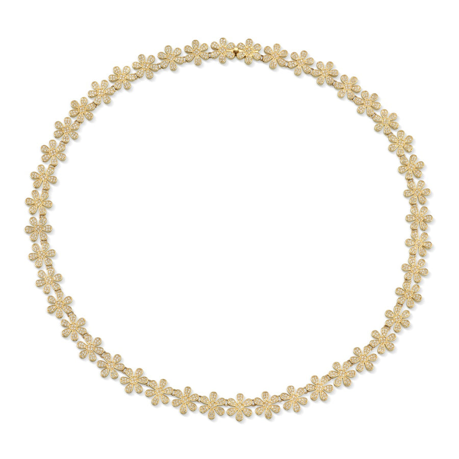 Gold & Pavé Diamond Daisy Eternity Necklace