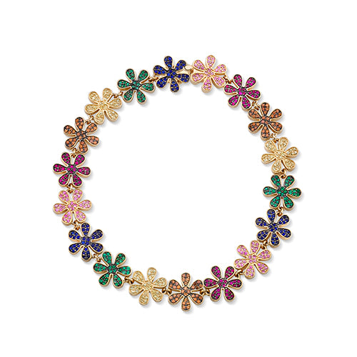 Yellow-Gold Rainbow Daisy Eternity Bracelet