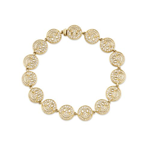 Yellow Gold & Diamond Happy Face Eternity Bracelet