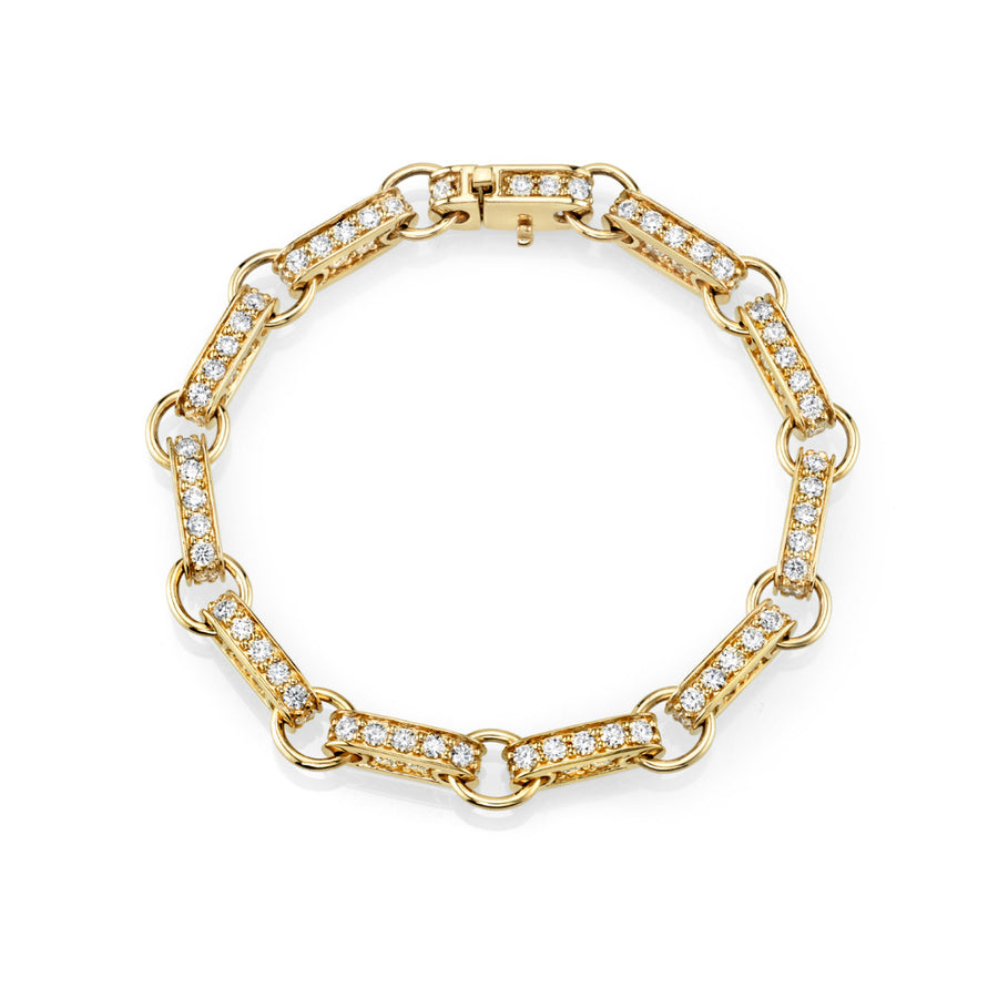 Gold & Diamond Large Rectangle Link Bracelet