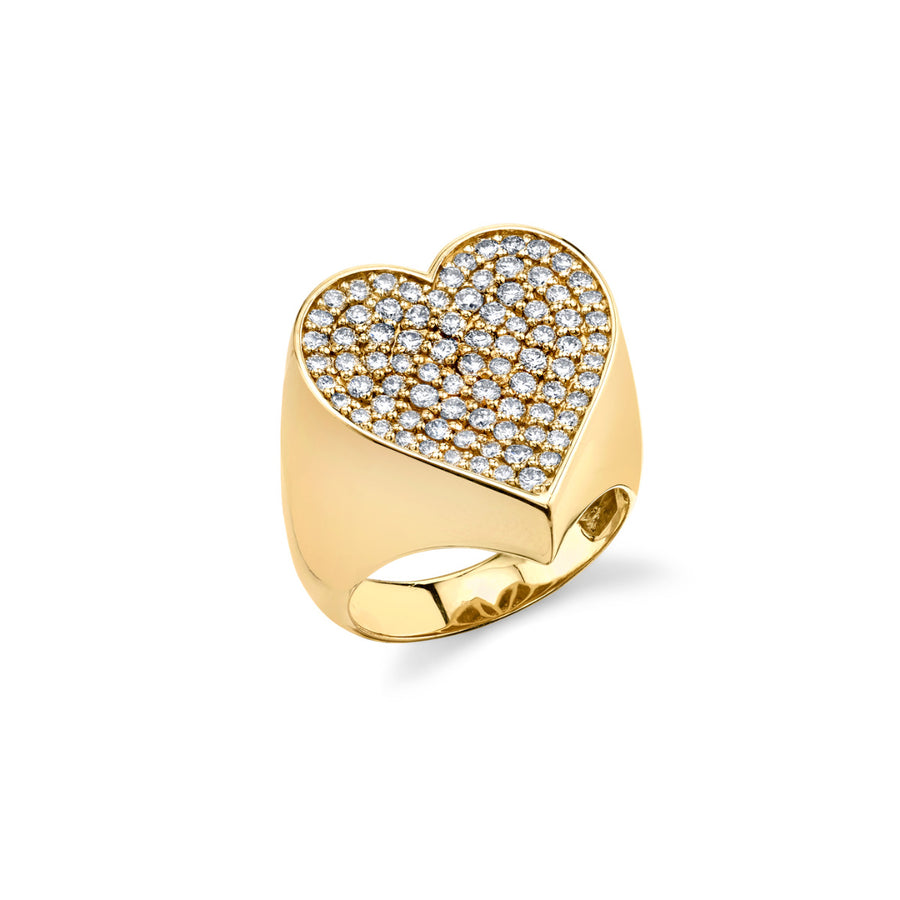 Large Yellow-Gold & Diamond Heart Signet Ring