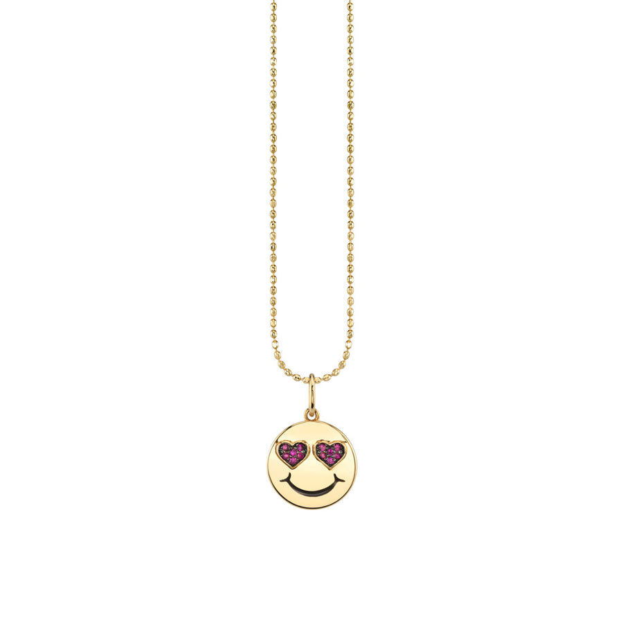 Yellow-Gold & Ruby Heart Eyes Happy Face Charm Necklace