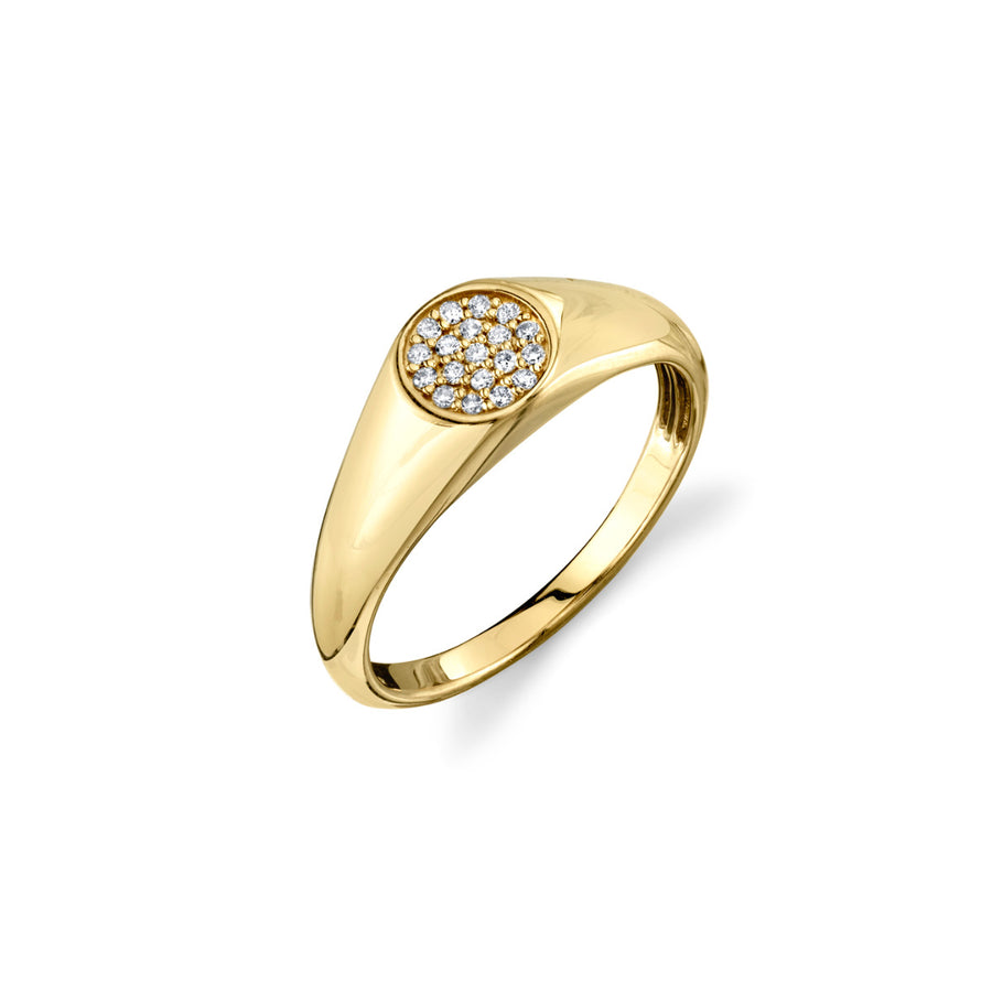 Gold & Diamond Mini Oval Pave Signet Ring