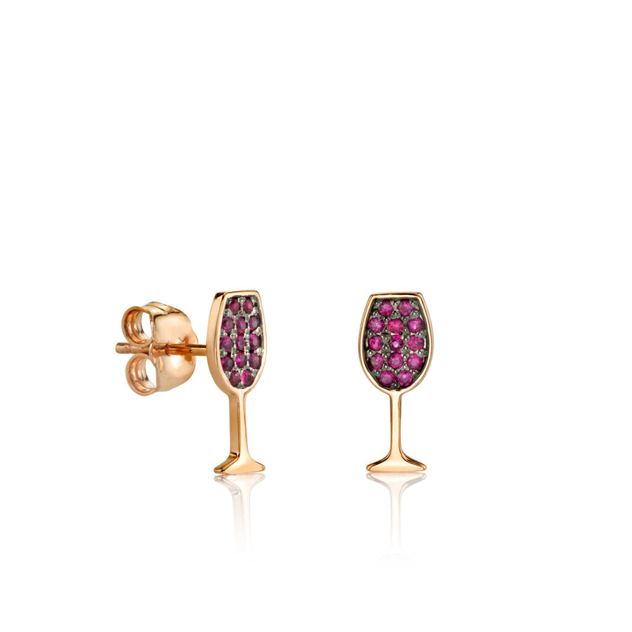 Rose-Gold & Ruby Wine Glass Studs