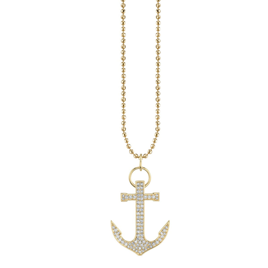 Large Yellow Gold & Diamond Anchor Necklace