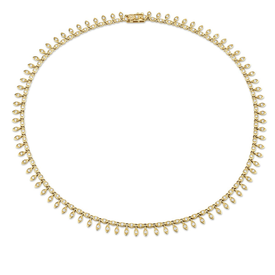 Gold & Diamond Marquis Eye Eternity Fringe Necklace