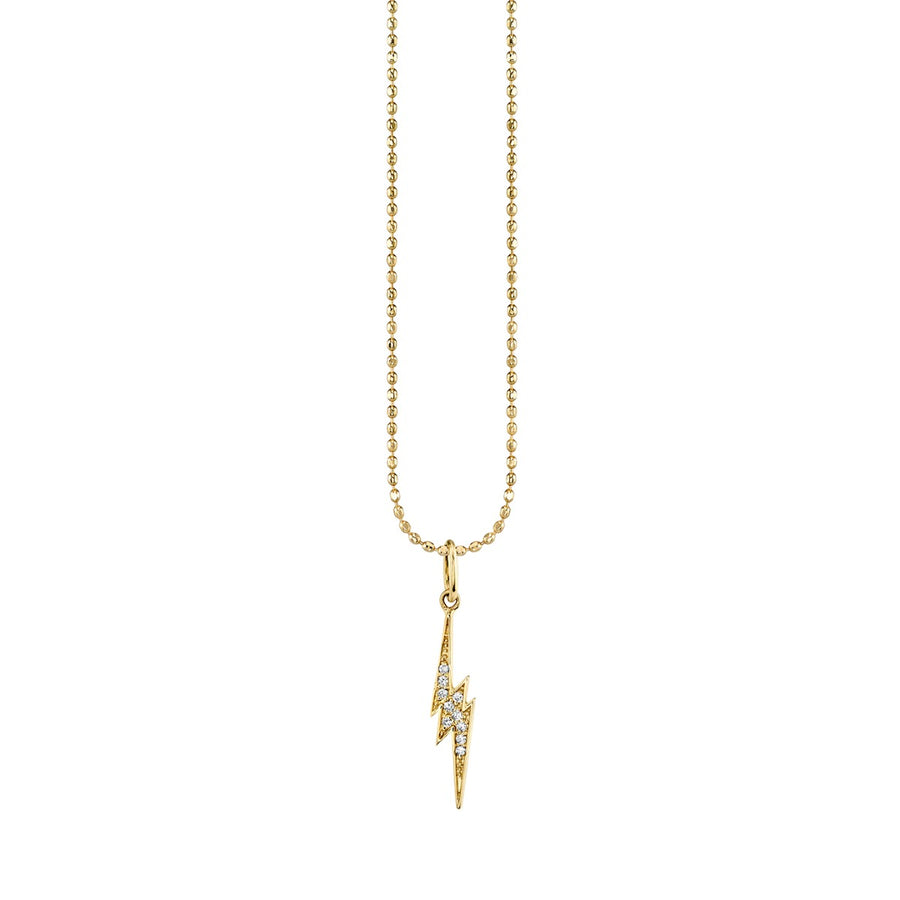 Gold & Diamond Small Lightning Bolt Charm Necklace