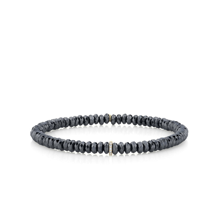 Men's Collection Yellow Gold & Diamond Small Cocktail Eternity Rondelle on Hematite