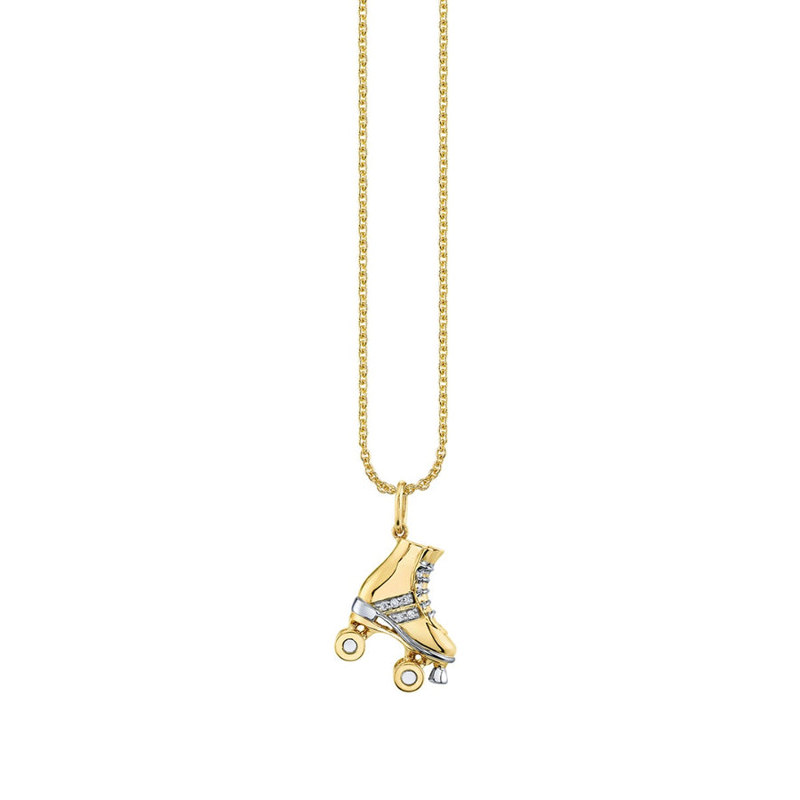Yellow Gold & Diamond Retro Roller Skate Necklace
