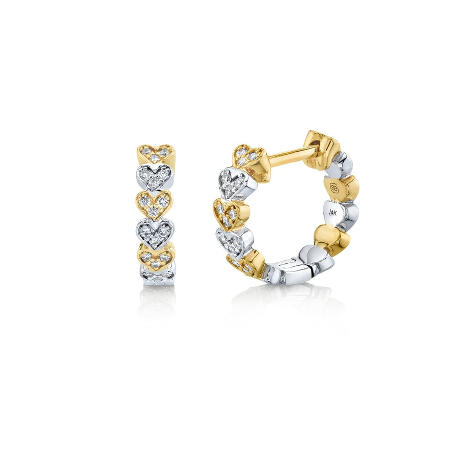Two Tone Gold & Diamond Heart Eternity Huggie Hoops