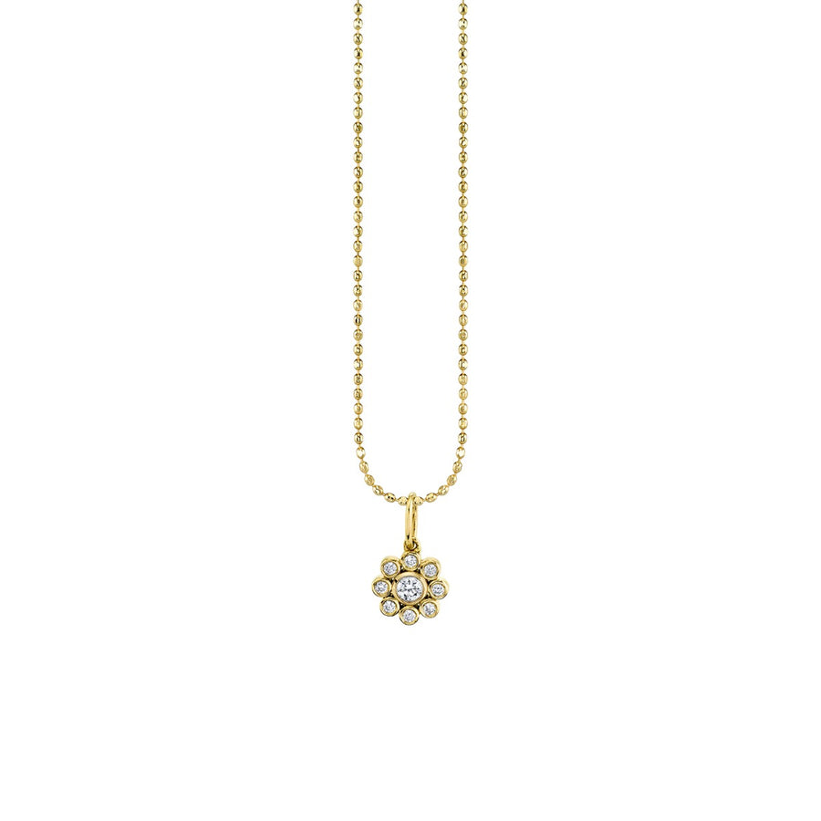 Yellow Gold & Bezel Diamond Flower Necklace