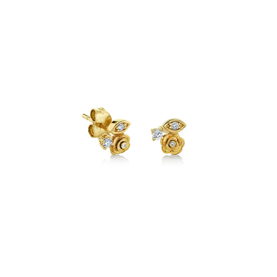 Yellow Gold Marquis Eye Diamond Rose Studs