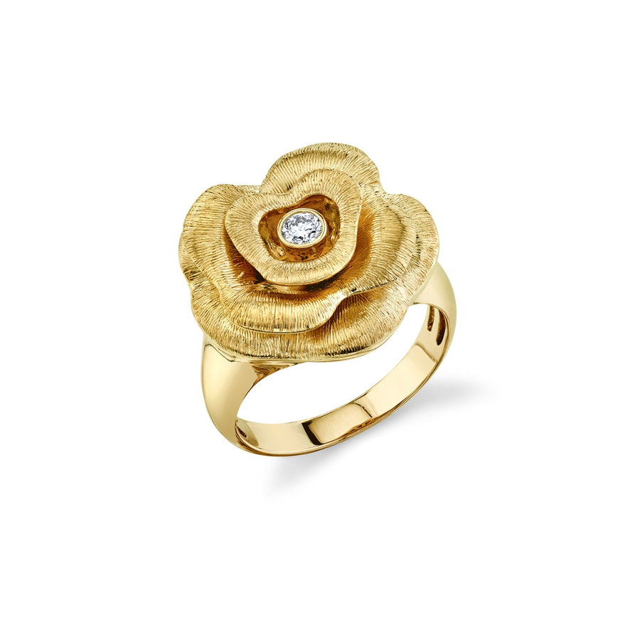 Yellow Gold & Diamond Bezel Rose Ring