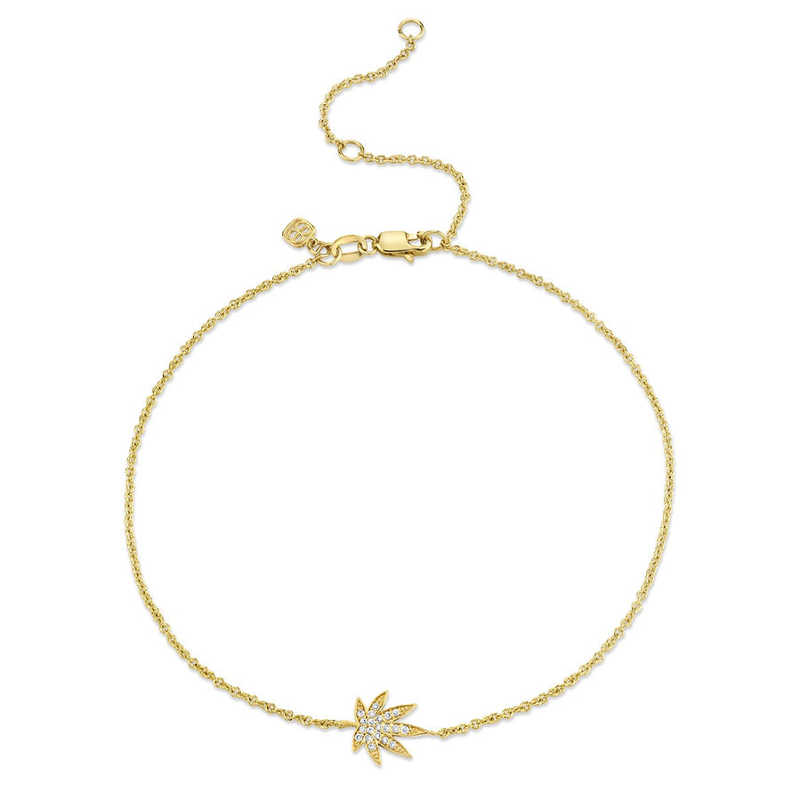 Yellow Gold & Diamond Pot Leaf Anklet