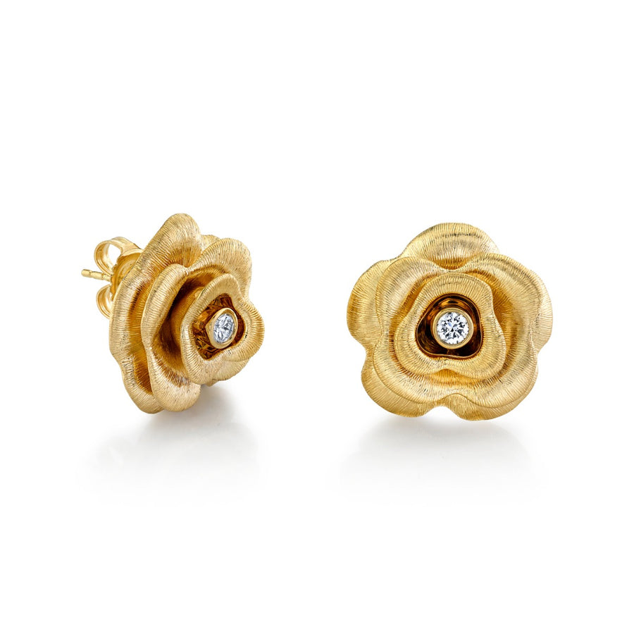 Yellow Gold & Diamond Large Rose Earrings