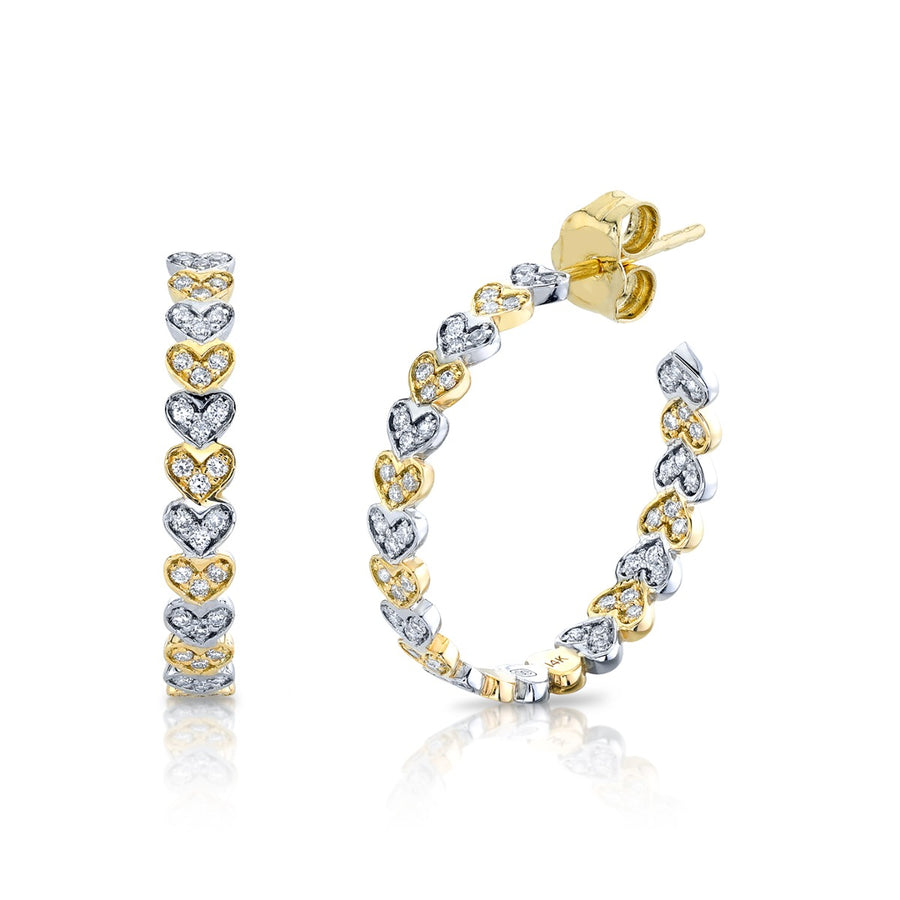 Two Tone Gold & Diamond Medium Heart Eternity Hoops