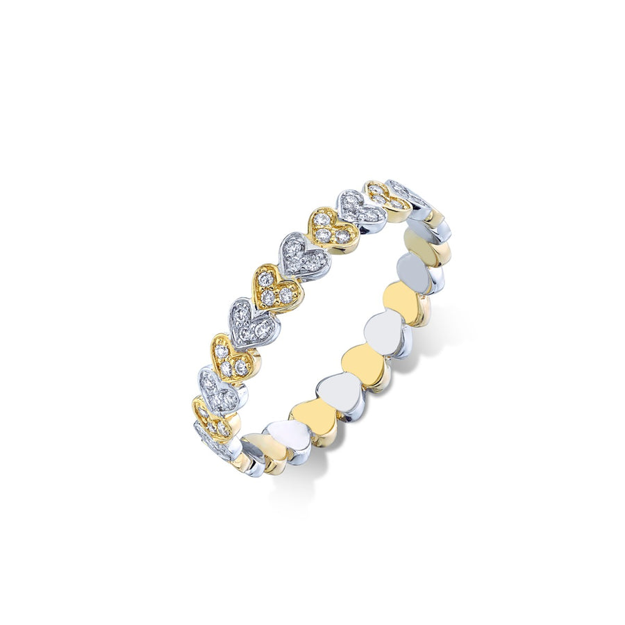 Two Tone & Diamond Heart Eternity Ring