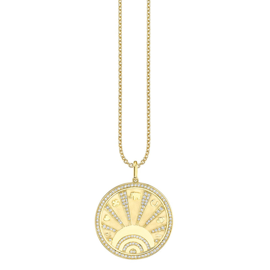 Yellow Gold & Diamond Luck Coin with Rays Necklace