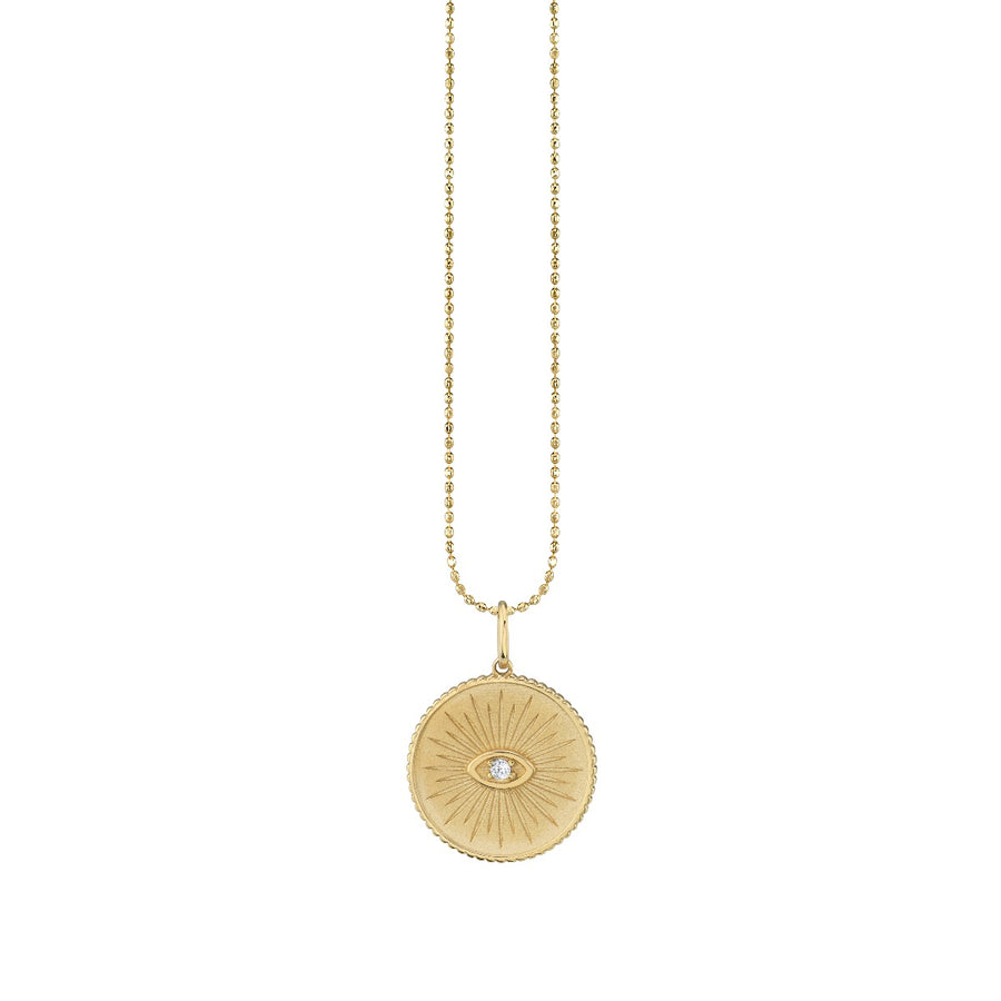 Yellow Gold & Diamond Marquis Eye Coin Necklace
