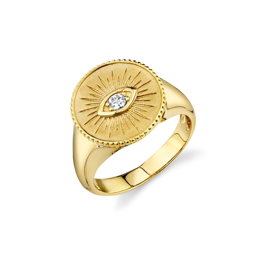 Gold & Diamond Marquis Evil Eye Coin Signet Ring