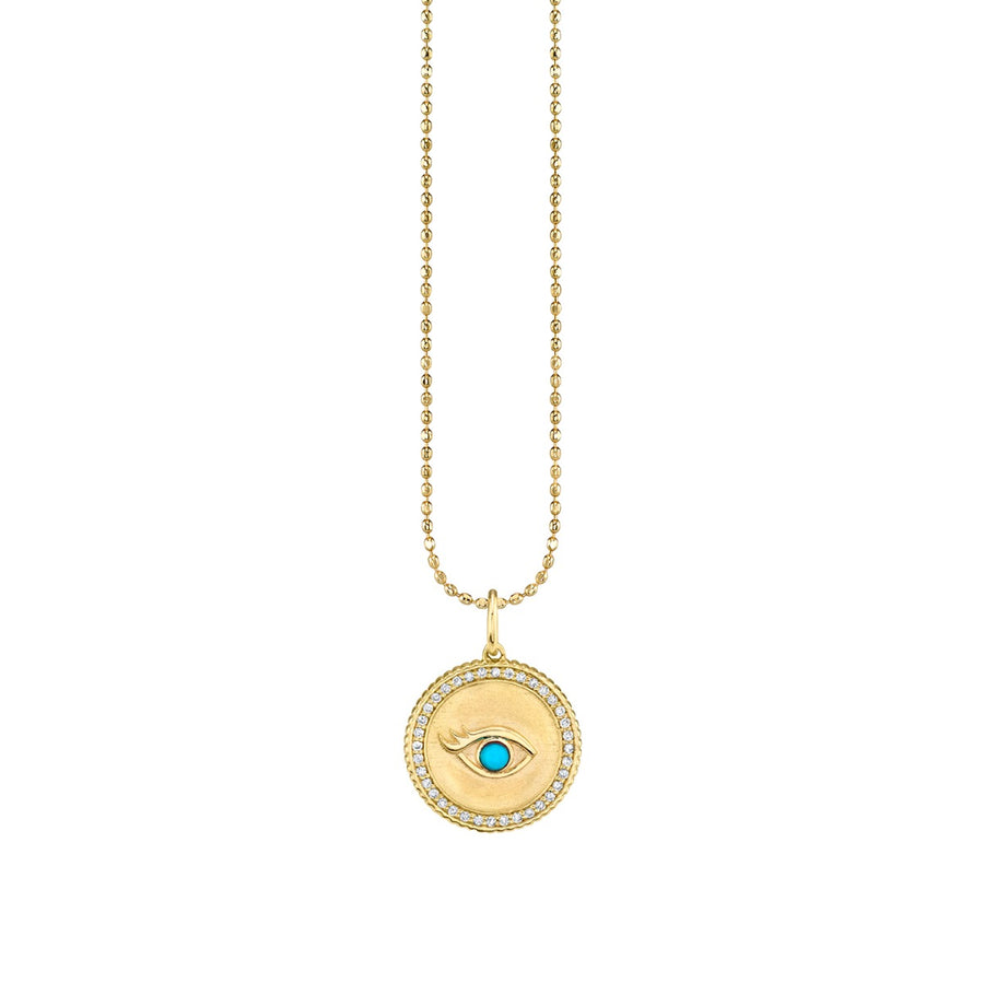 Gold Diamond & Turquoise Eyelash Evil Eye Coin Necklace