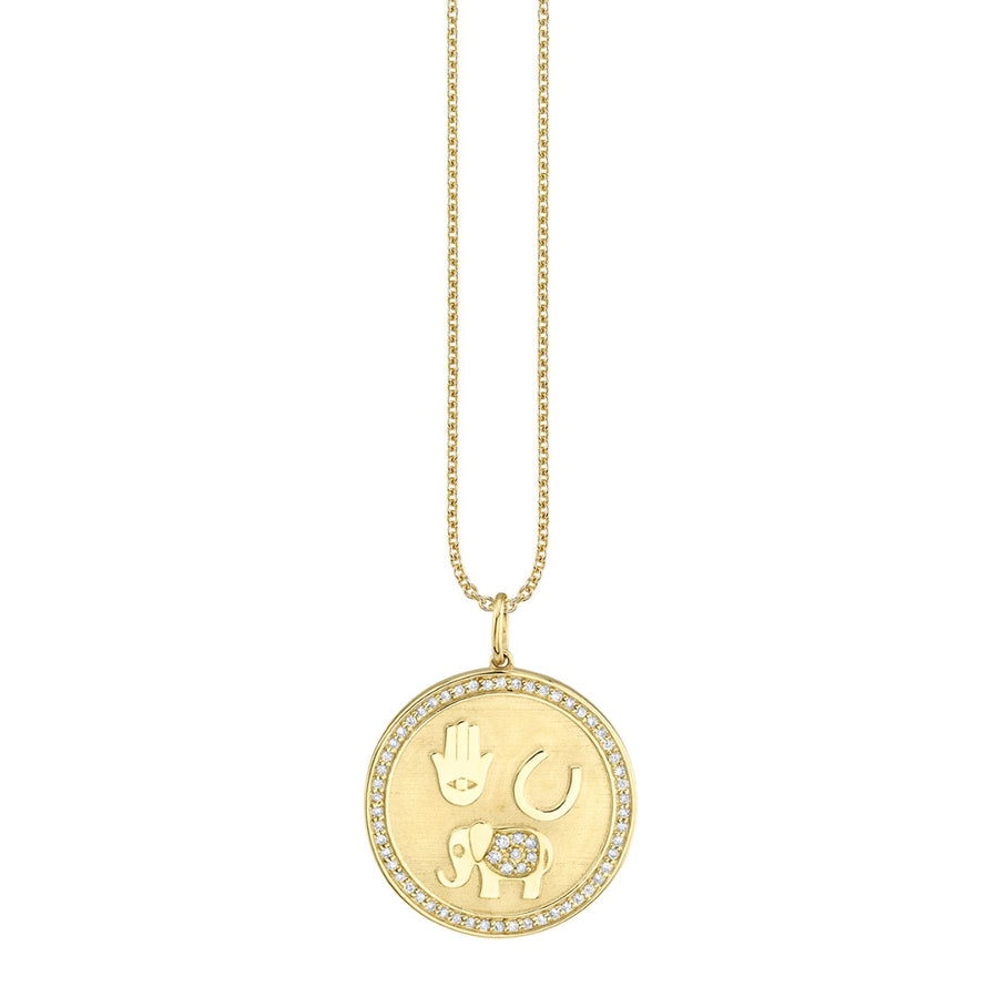 Yellow Gold & Diamond Luck and Protection Coin Necklace