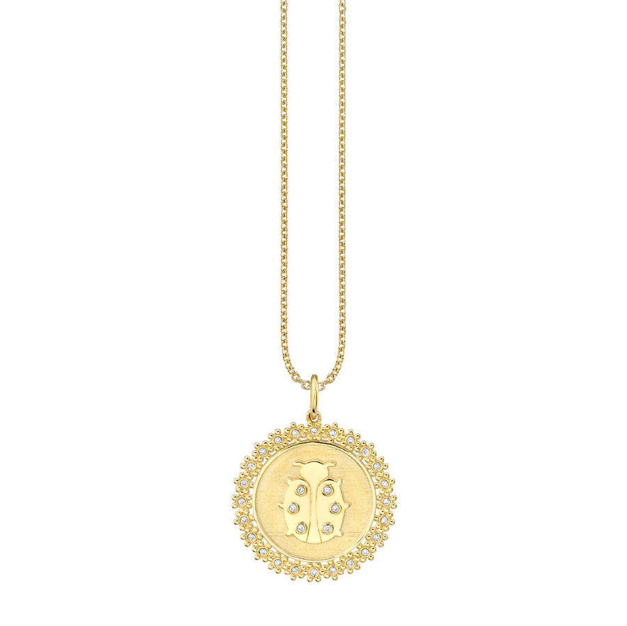 Gold & Diamond Ladybug Coin Necklace