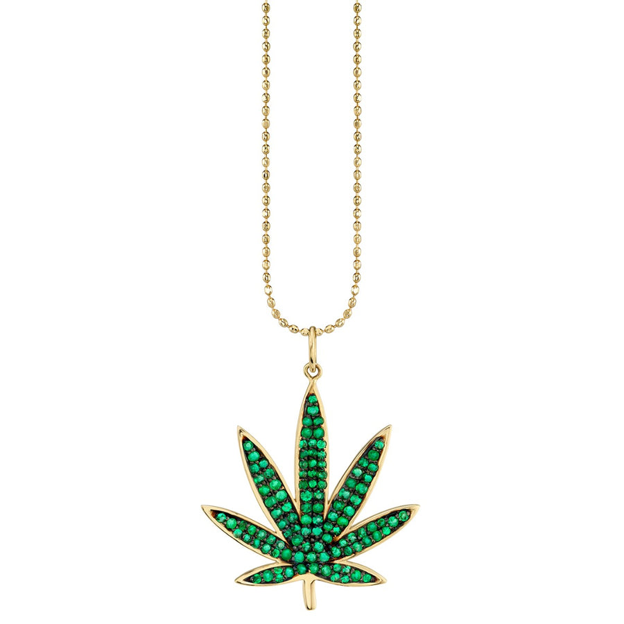 Yellow Gold & Emerald Large Pot Leaf Necklace