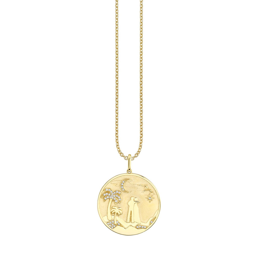 Yellow Gold & Diamond Sunset Coin Necklace
