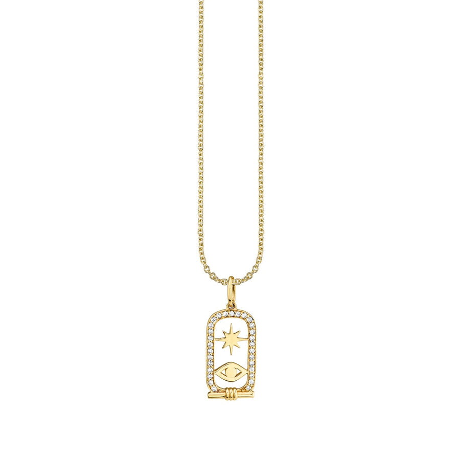 Gold & Diamond Starburst and Evil Eye Cartouche Necklace
