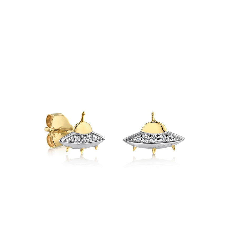 Gold & Diamond Flying Saucer Stud Earrings