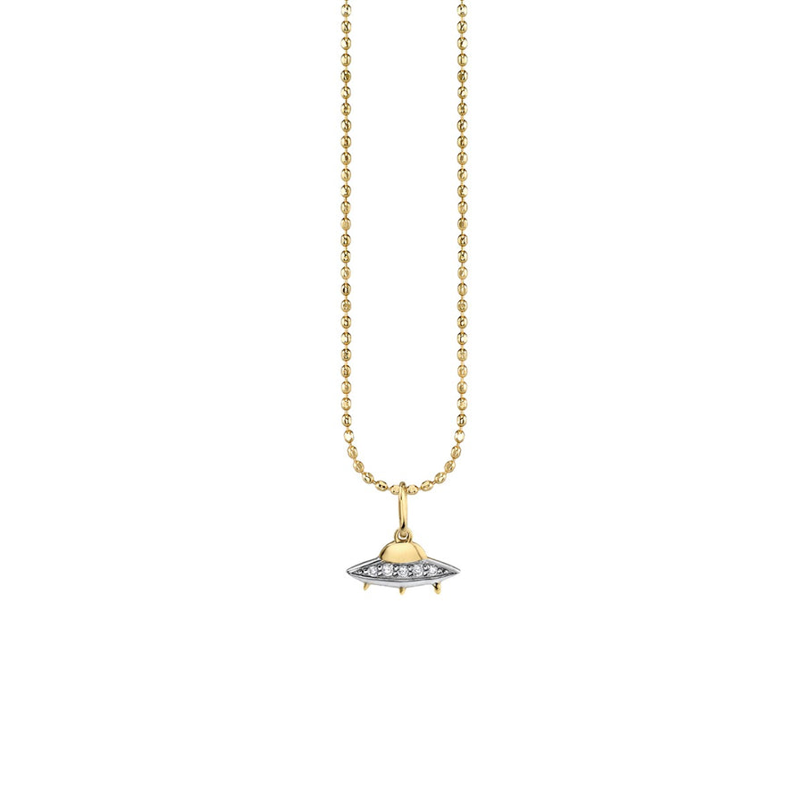 Gold & Diamond Flying Saucer Charm Necklace