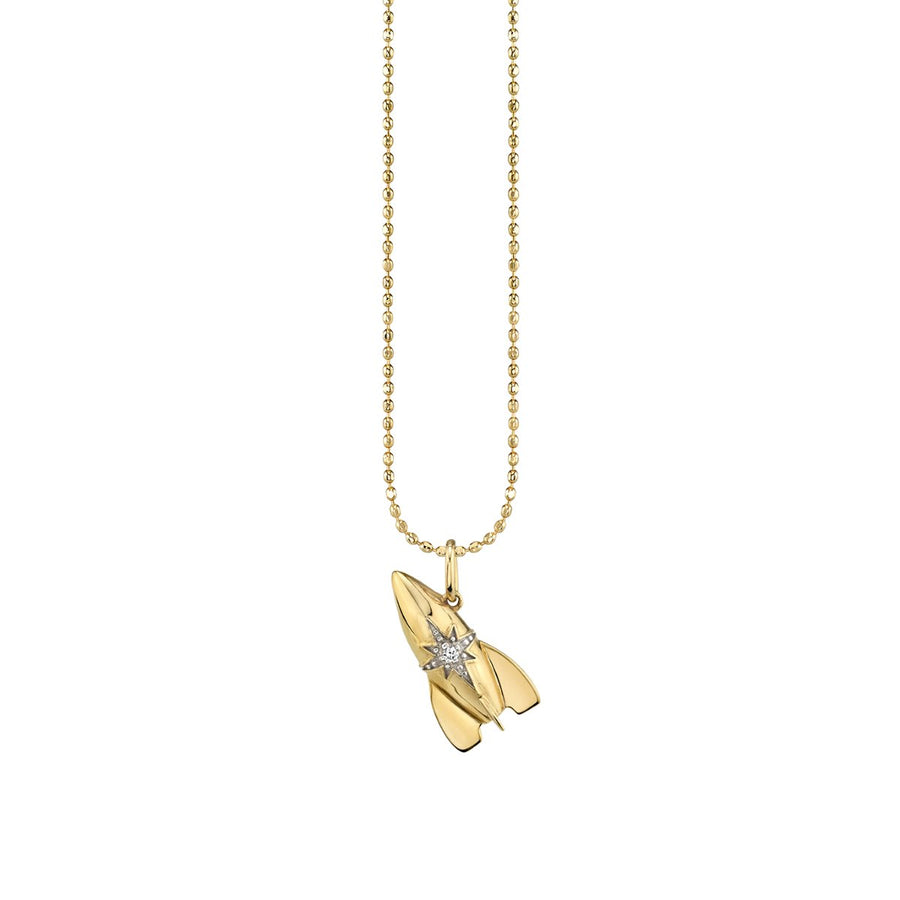 Yellow Gold & Diamond Rocket Charm Necklace