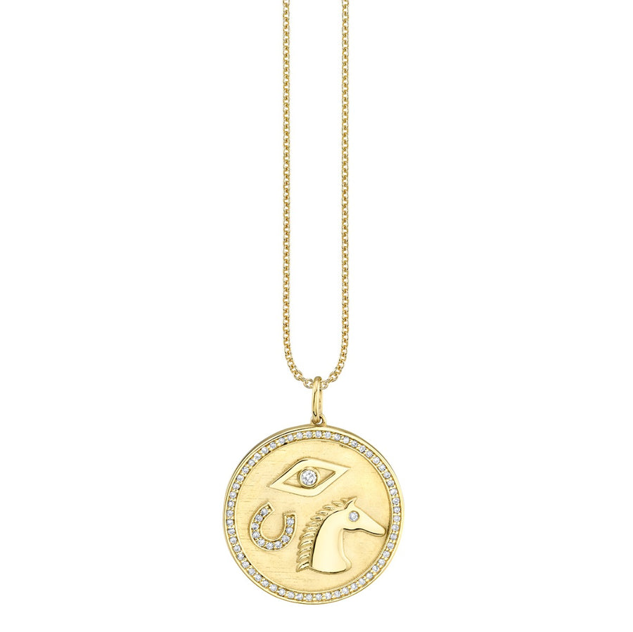 Gold & Diamond Equestrian Coin Necklace