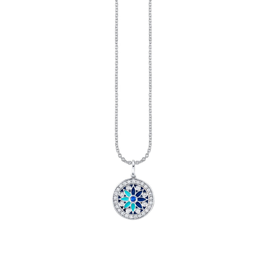 White Gold & Pavé Diamond Kaleidoscope Charm Necklace