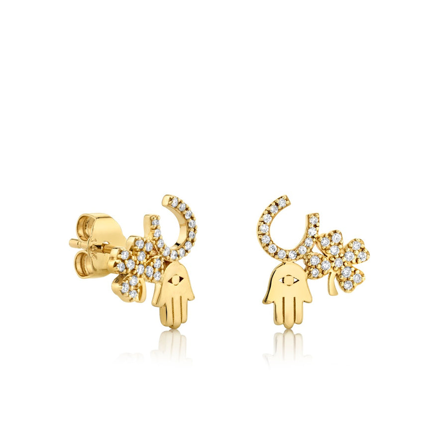 Gold & Diamond Luck and Protection Stud Earrings