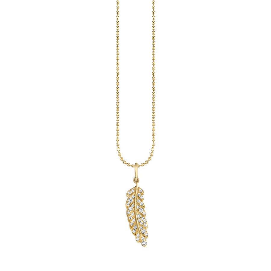 Small Gold & Pavé Diamond Feather Charm Necklace