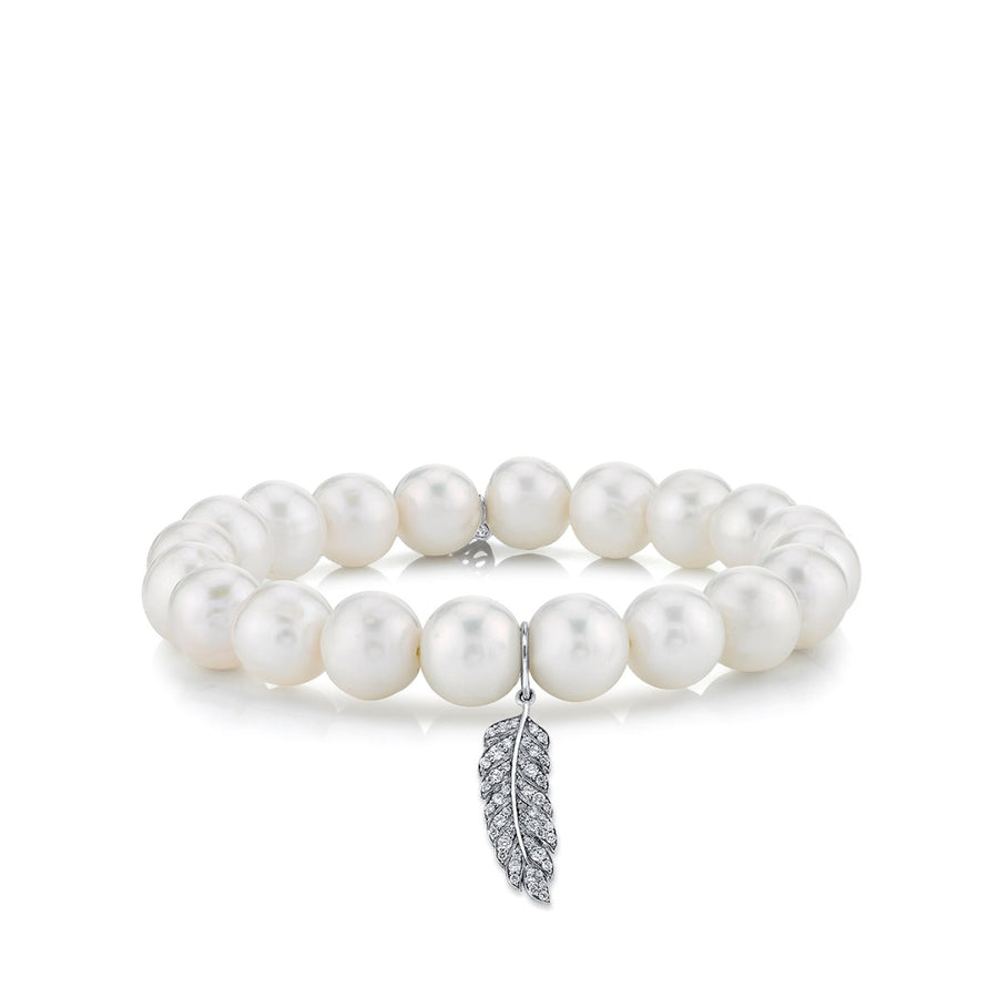 Small White Gold & Pavé Diamond Feather on White Potato Pearl