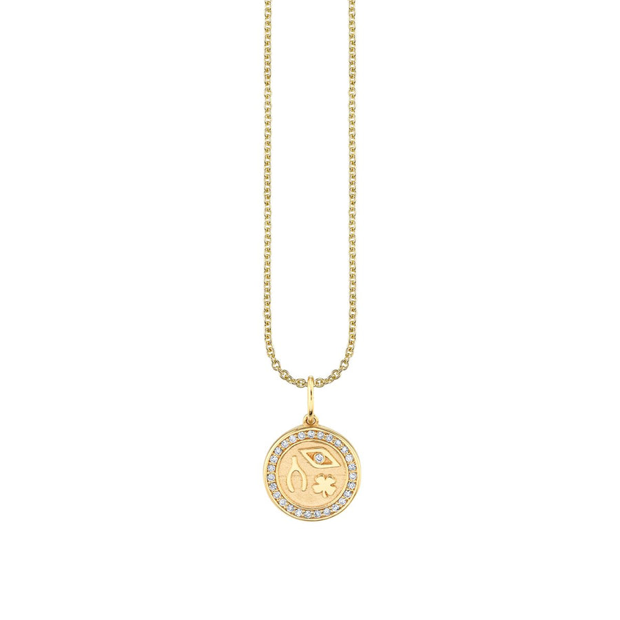 Tiny Gold & Pavé Diamond Luck and Protection Coin Necklace
